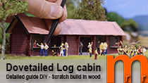 Model a dovetailed log cabin from scratch for your model railroad or diorama